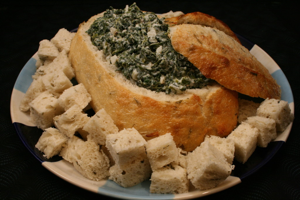 Spinach Dip In Rye Bread Bowl Eclectic Entertaining